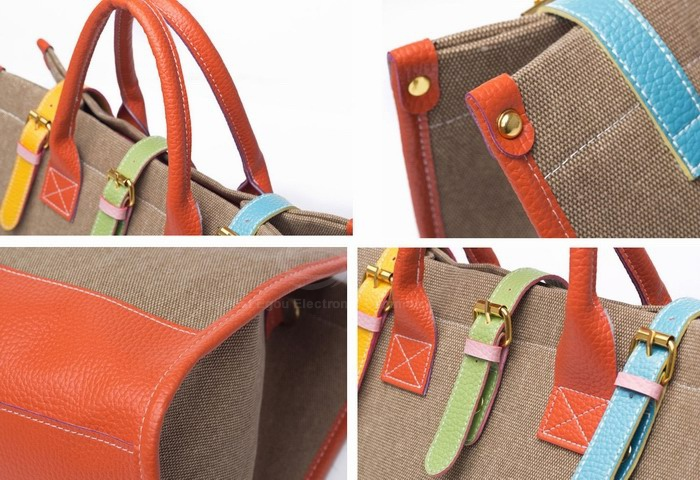 Fashion and Casual Color Block and Buckle Design Women's Handbag