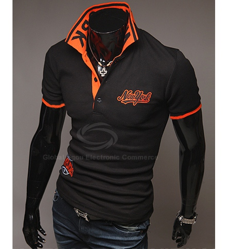 Fashion Style Polo Collar Embroidery Letters Embellished Short Sleeves Polyester Polo Shirt For Men
