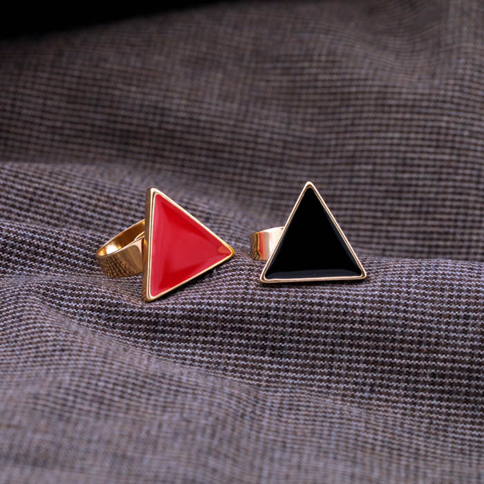 Bague Ajustable Forme Triangle Style Chic Pour Femmes