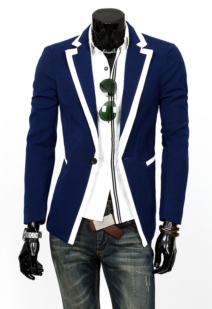 Slimming Color Block Purfled Lapel Neck Long Sleeves Polyester Blazer For Men