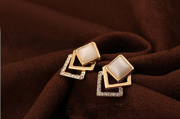 Faux Opal Embellished Square Earrings