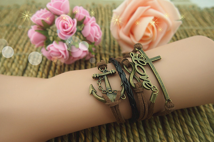 Cross Anchor Love Multilayered Bracelet