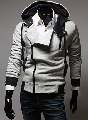 Manches Street Style Side Zipper long Polyester Hoodies For Men