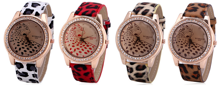 Quartz Watch with 12 Small Diamond Dots Analog Indicate Leather Watch Band Leopard Pattern Dial for Women