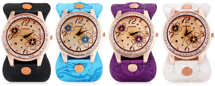 Womage 9965-3 Quartz Watch with Diamond Flower Leather Watchband for Women