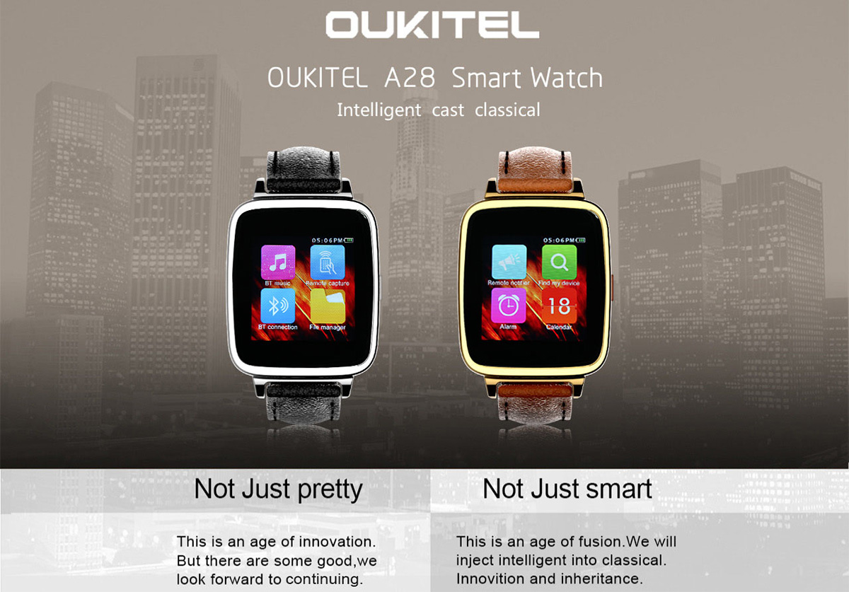OUKITEL A28 MTK2502 Smart Bluetooth Watch Heart Rate Monitor Sleep Tracker Pedometer Genuine Leather Band iOS Android