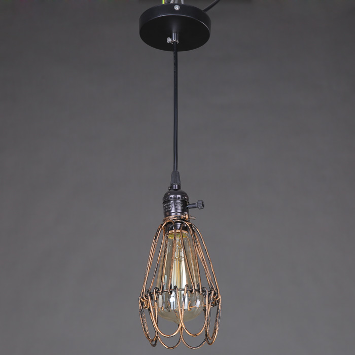 E27 Industrial Retro Iron Cage Pendant Light Holder
