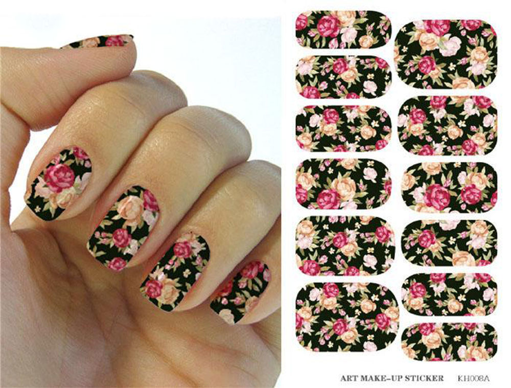 Pink Red Rose Flowers Design Nail Sticker Manicure Decor Tools