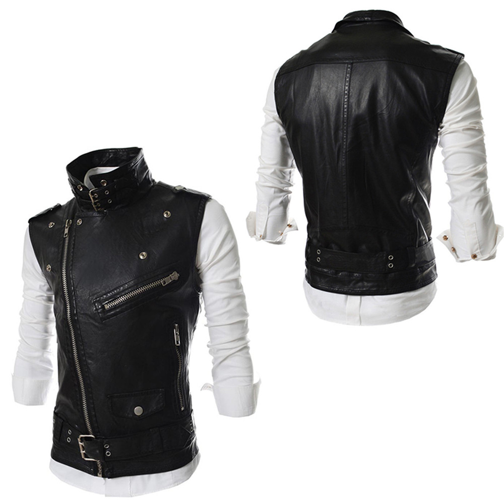 00464f9b0c6302 -Occasion casual fashion -Season Spring Summer Autumn Winter -Net  Weight 0.454KG -Package 1   Men Slim Fit Oblique Zippers PU Leather  Motorcycle Jacket Vest