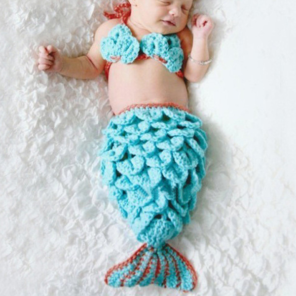 Hot Sale Laine Manuel Knitting Mermaid design Twinset bébé Sac de couchage