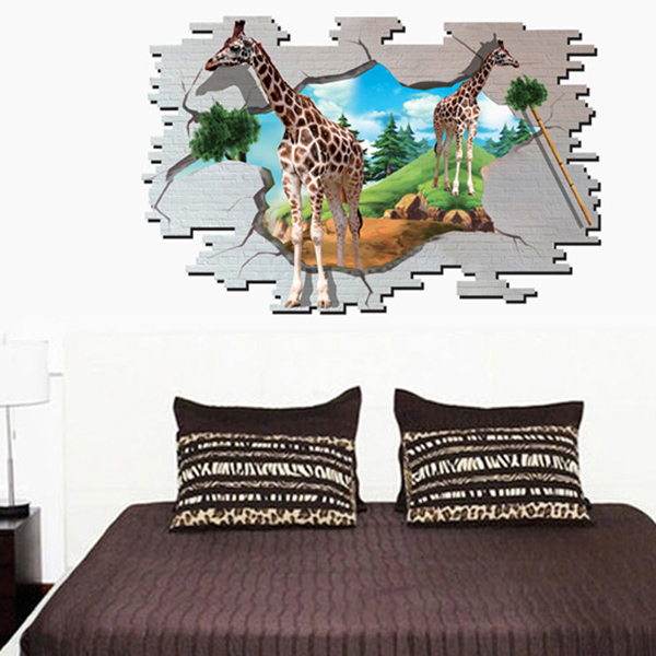 Fashion 3D Giraffe Broken Wall Pattern Sticker For Bedroom Livingroom Decoration