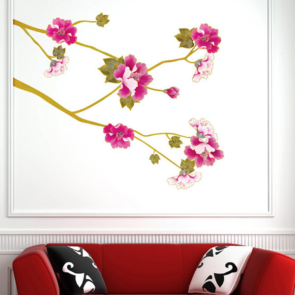 Chic Floral Plants Pattern Wall Sticker For Bedroom Livingroom Decoration