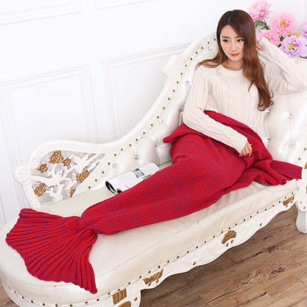 Mode Nap Poisson été Queue Forme Mermaid design Knitting Blanket