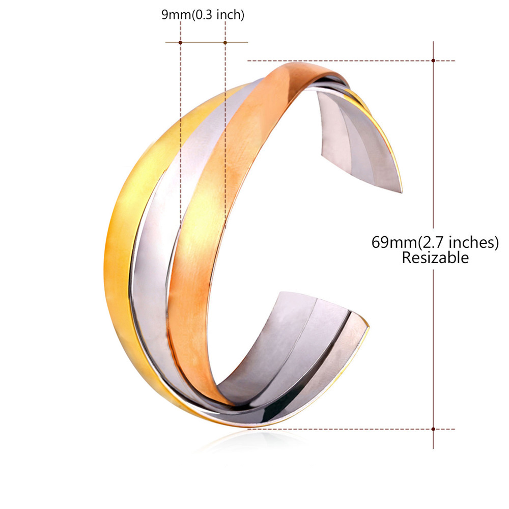 Plated Three Tone Color Stripy Junction Cuff Bracelet