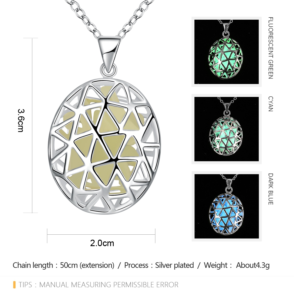 Luminescent Faux Gem Hollow Out Oval Triangle Carve Necklace