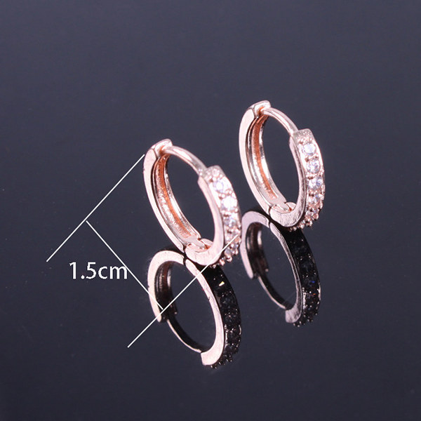 Pair of Alloy Gold Plated Rhinestoned Earrings