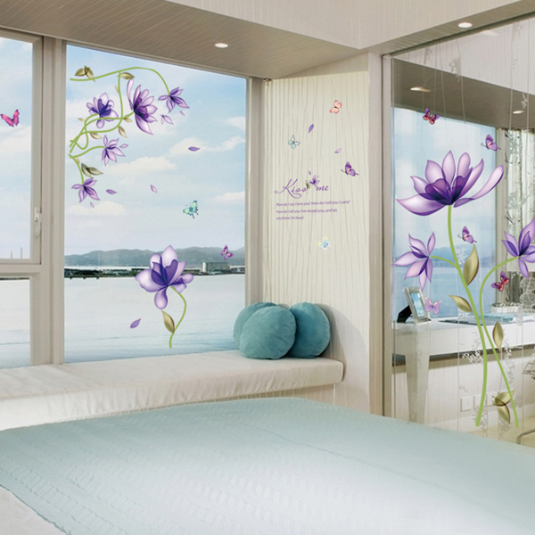 Creative Purple Flowers Pattern Wall Sticker For Bedroom Livingroom Decoration