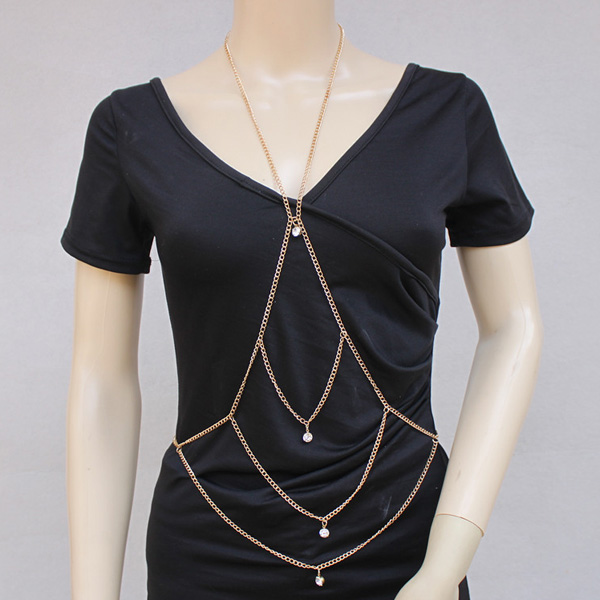 Vintage Faux Crystal Embellished Body Chain