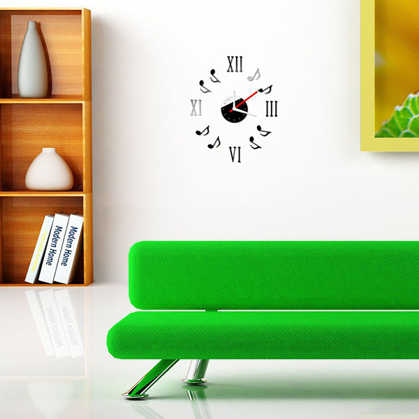 Creative Acrylic Mirror Notes Figures Design Wall Stick Clock