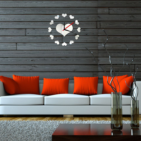 New Style Acrylic Mirror DIY Heart Shape Wall Stick Clock
