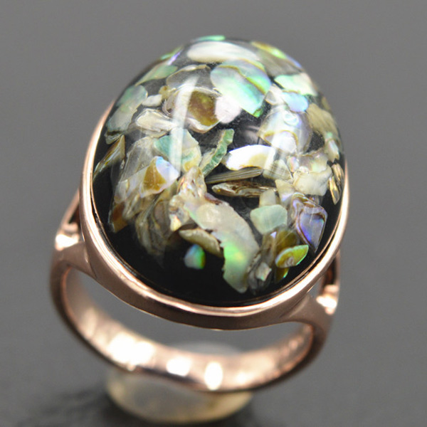 Vintage Faux Crystal Shell Oval Ring For Women
