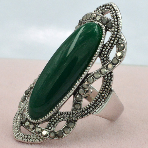 Vintage Artificial Gem Oval Embellished Ring For Women