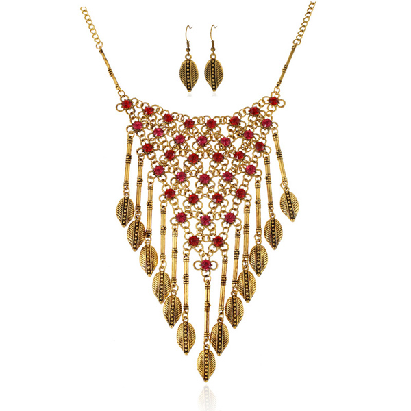 A Suit of Vintage Rhinestone Leaf Triangle Necklace and Earrings