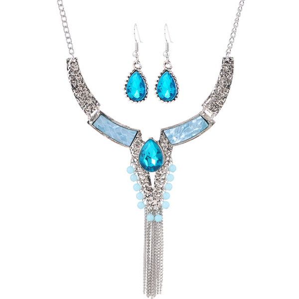 Water Drop Faux Crystal Necklace and Earrings