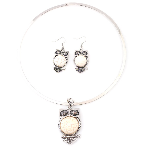A Suit of Faux Gem Owl Necklace and Earrings