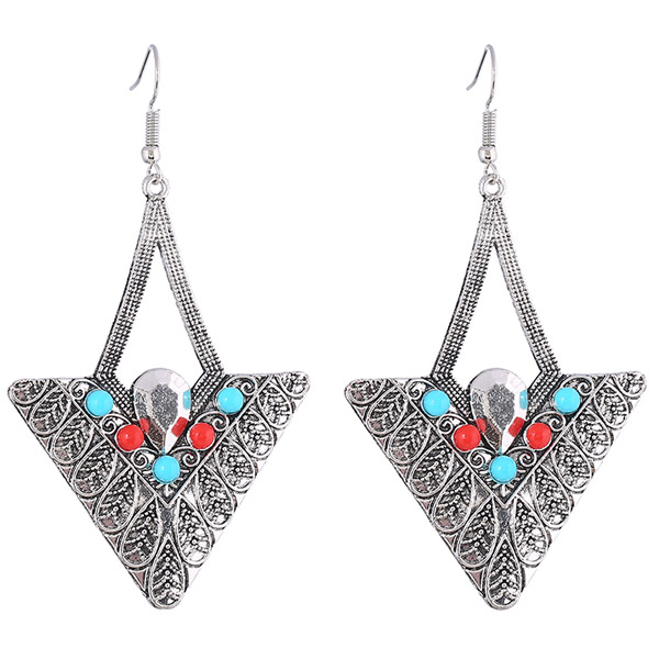 Pair of Vintage Alloy Embossed Beads Triangle Earrings