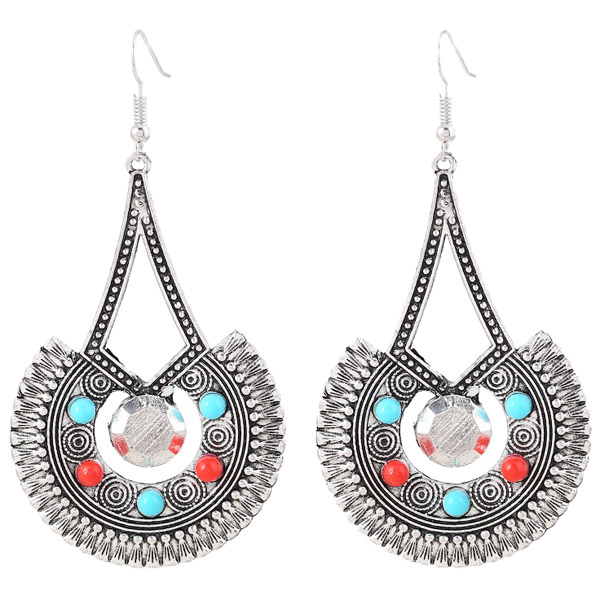 Pair of Vintage Alloy Engraved Beads Triangle Earrings