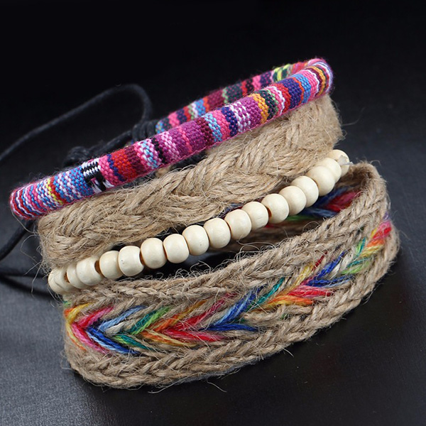 A Suit of Vintage Layered Faux Leather Beads Wrap Bracelets