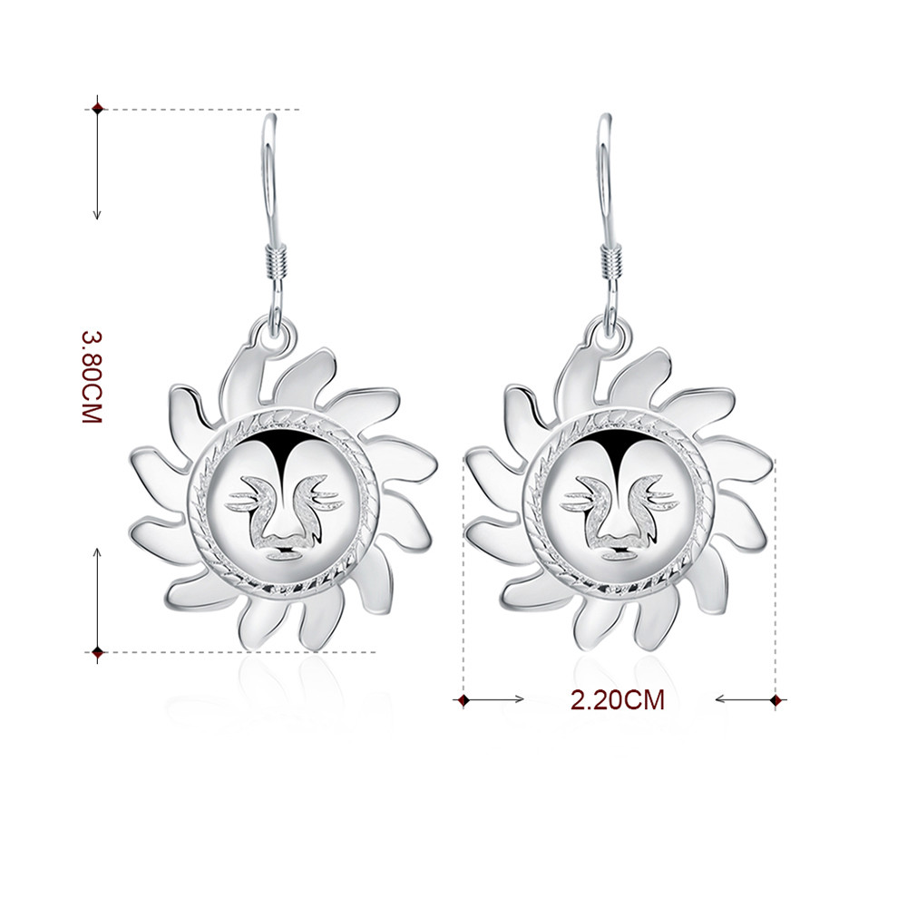 Pair of Alloy Sun Smiling Face Drop Earrings