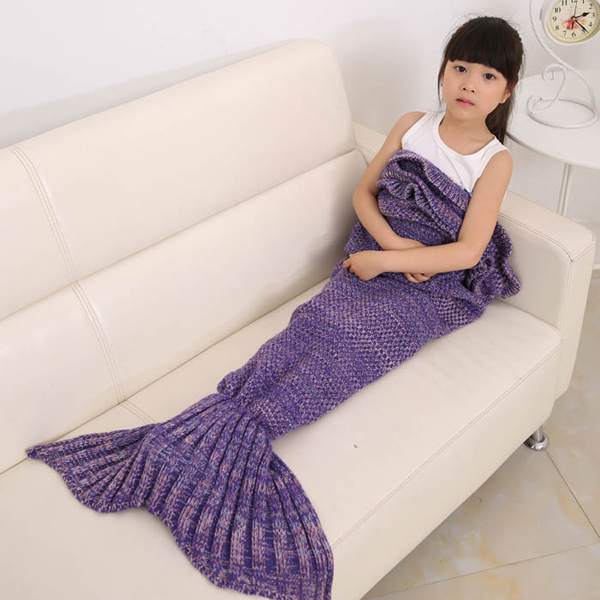 Flouncing Sleeping Bag Mermaid Design Knitting Blanket For Kids