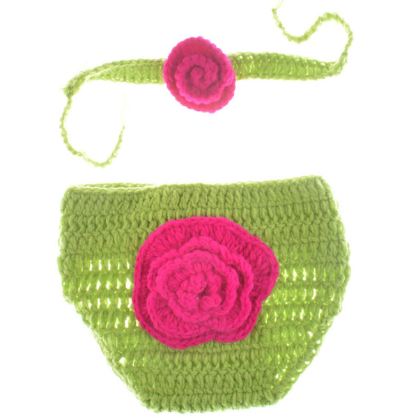 Flower Pattern Crochet Photography Clothes Set For Baby