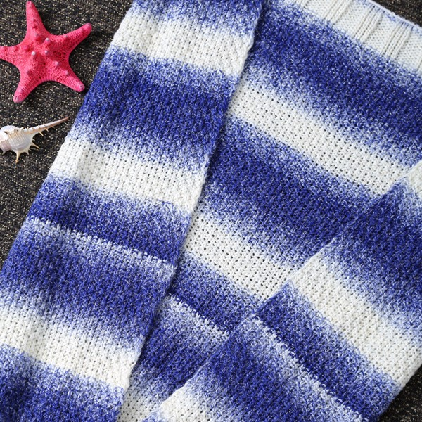 New Process Gradient Stripe Comfortable Wool Mermaid Blanket