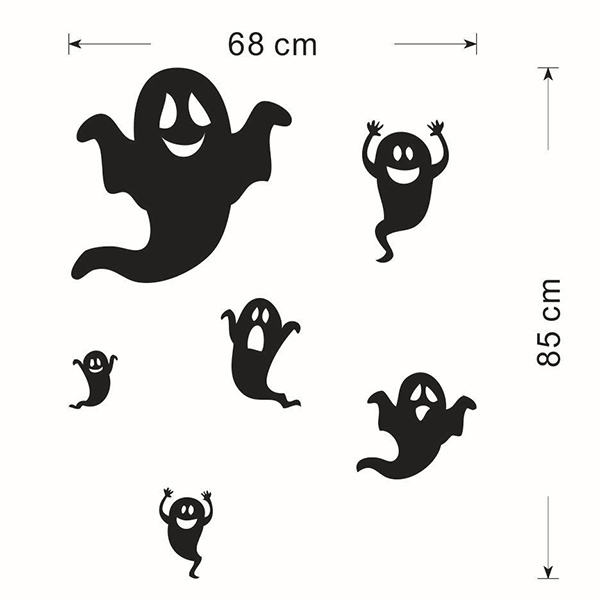 Ghost Halloween Removable Waterproof Room Background Wall Sticker