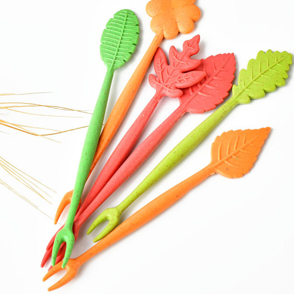 16pcs vert Biodégradable naturel paille de blé Feuilles Fruit Fork Set