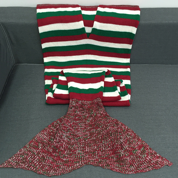 Super Color Stripe souple Bloc Crochet Knitting Mermaid Tail style Blanket