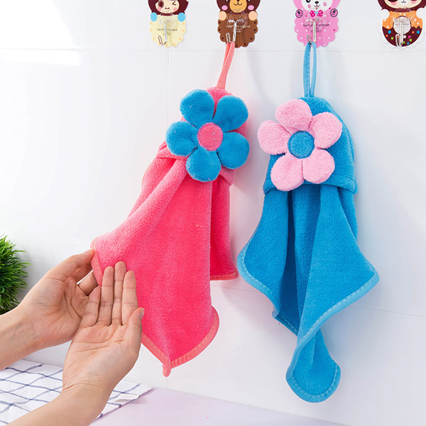 Coral Fleece Floral Strong Absorbent Hanging Hands Towel