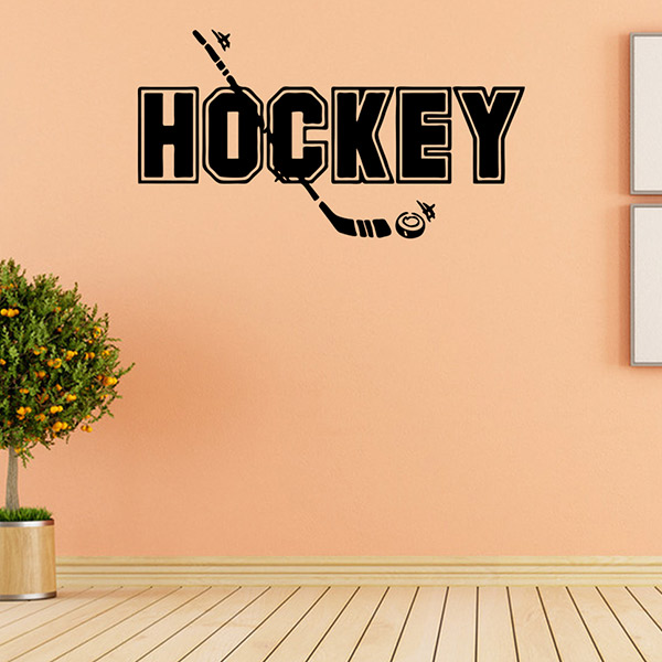 Removable Waterproof HOCKEY Word Sports Wall Decals For Bedrooms