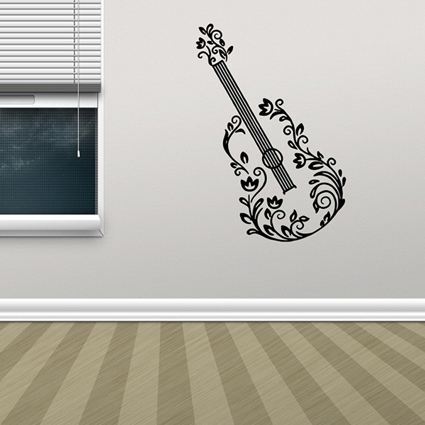 Removable Waterproof Guitar Carved Art Wall Stickers