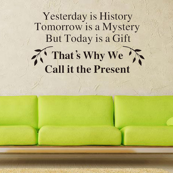 Home Decor Yesterday Is History Quote Wall Stickers