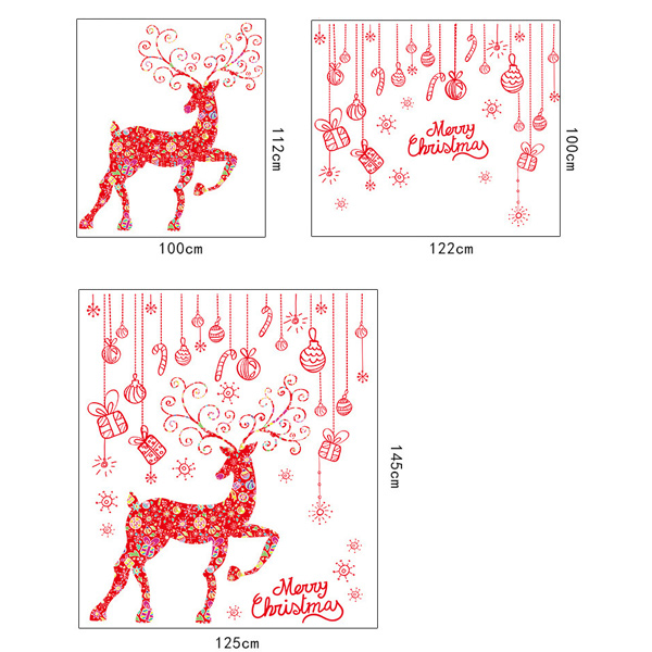Merry Christmas Red Milu Removable Glass Window Wall Stickers