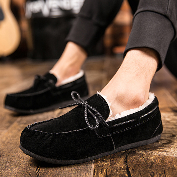 Fur Lined Suede Boat Shoes