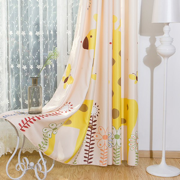Cartoon Giraffe Blackout Curtain Window Shading
