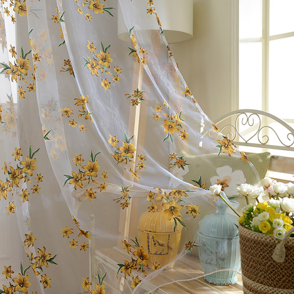 Flower Embroider Sheer Fabric Voile Curtain