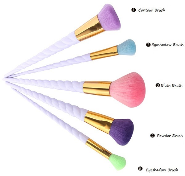 MAANGE 5 Pcs Unicorn Makeup Brushes Set