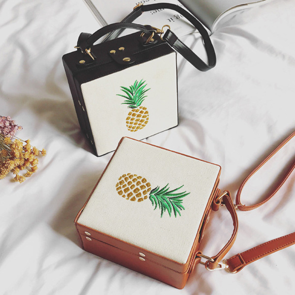 Canvas Insert Pineapple Embroidered Box Bag