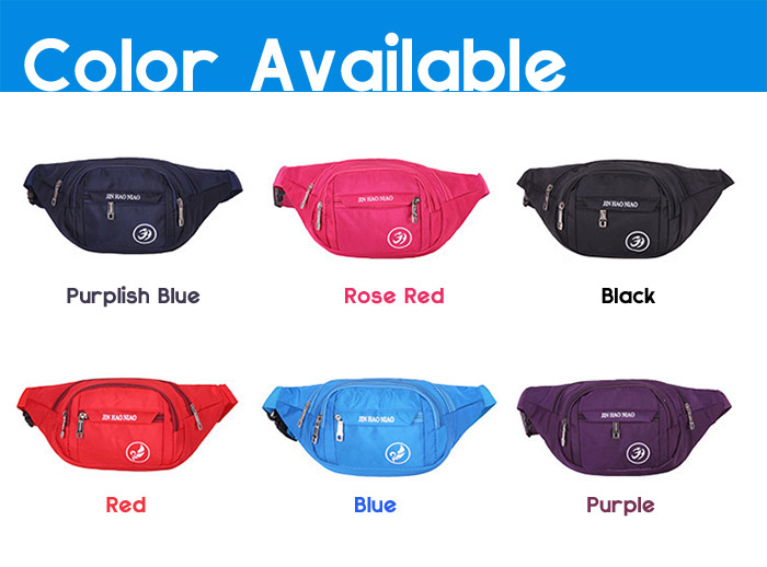 Letter Pattern Nylon Waterproof Waist Bag